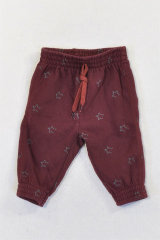 Woolworths Maroon Star Track Pants Boys 3-6 months
