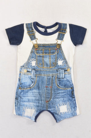 Woolworths Dungaree Print Romper Boys 3-6 months