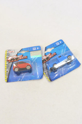 New Fresh Metal 2 Pack Red Car & Blue Truck Toy Unisex 3-10 years