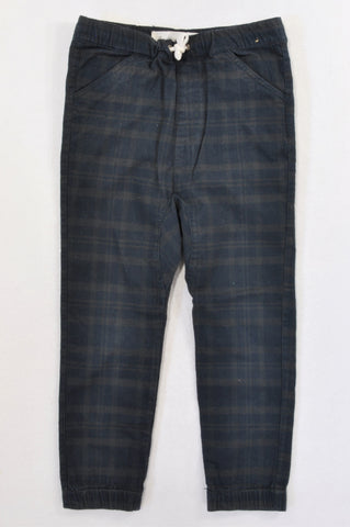Cotton On Black & Olive Plaid Cuffed Pants Boys 6-7 years