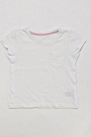 Mothercare White Basic T-shirt Girls 12-18 months