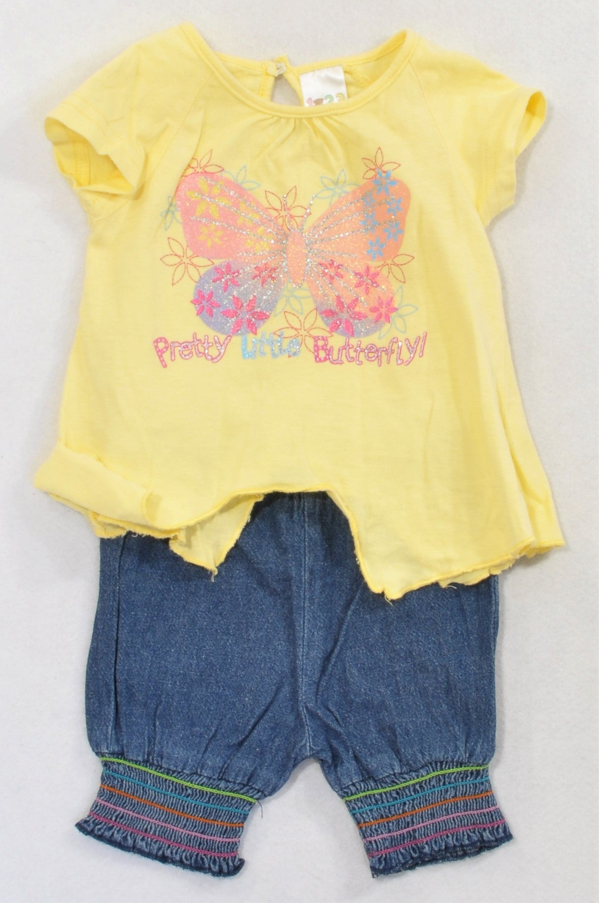 Edgars Yellow Butterfly T-shirt & Denim Shorts Outfit Girls 3-6 months
