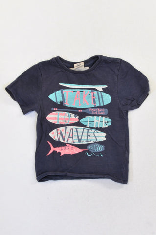 H&M Navy Take To The Beach T-shirt Boys 1-2 years