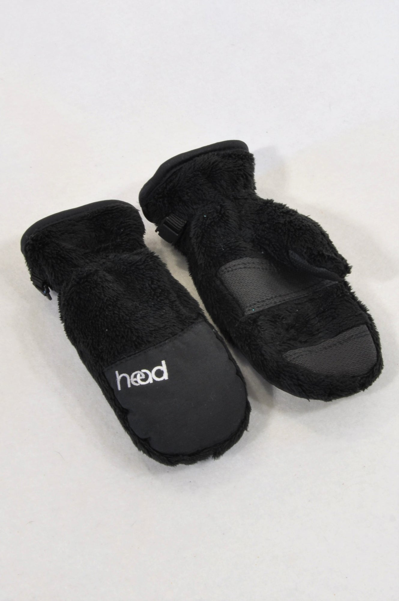 Head Black Faux Fur Snow Mittens Unisex 2-4 years