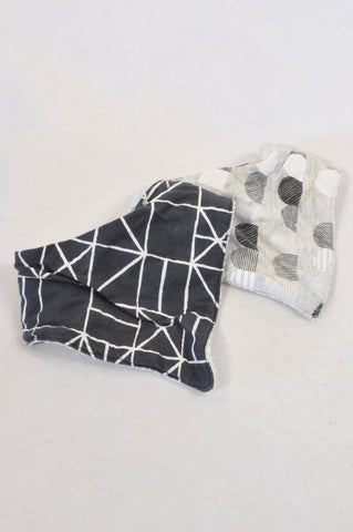 Cotton On 2 Pack Black & Grey Terry Towel Lined Bibs Unisex N-B to 2 years