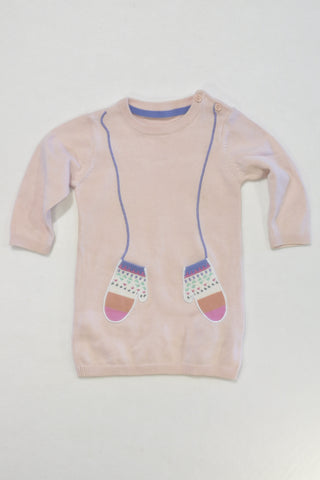 M&S Long Sleeve Sweater Dress Girls 3-6 months