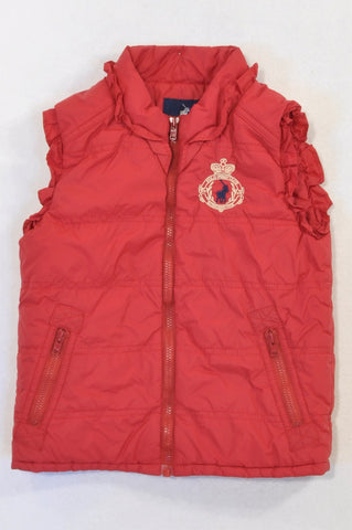 Polo Red Frill Trim Padded Body Warmer Girls 4-5 years