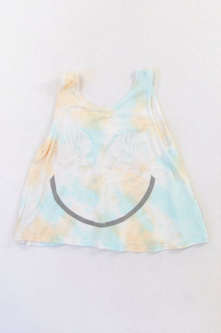 Unbranded Watercolour Tie Dye Seashell Lightweight Crop Swing Top Girls 3-4 years