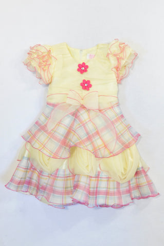 Unbranded Yellow & Pink Plaid Flower Occasions Dress Girls 3-4 years