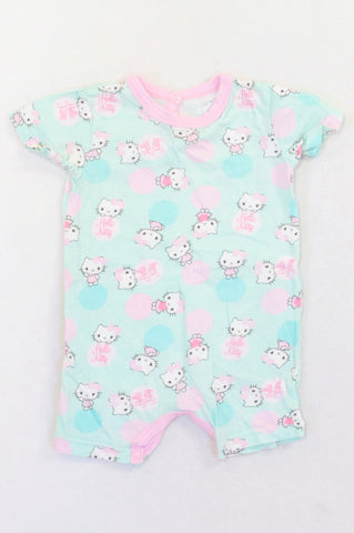 Woolworths Aqua Pink Trim Hello Kitty Romper Girls 6-12 months
