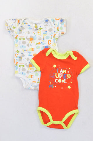 Jet 2 Pack Red Super Cool & Circus Baby Grows Unisex 3-6 months