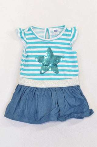 New Ackermans Turquoise Stripe Sequin Star Dress Girls 6-12 months
