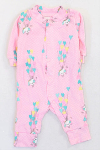 Woolworths Pink Air Balloon Puppy Onesie Girls N-B