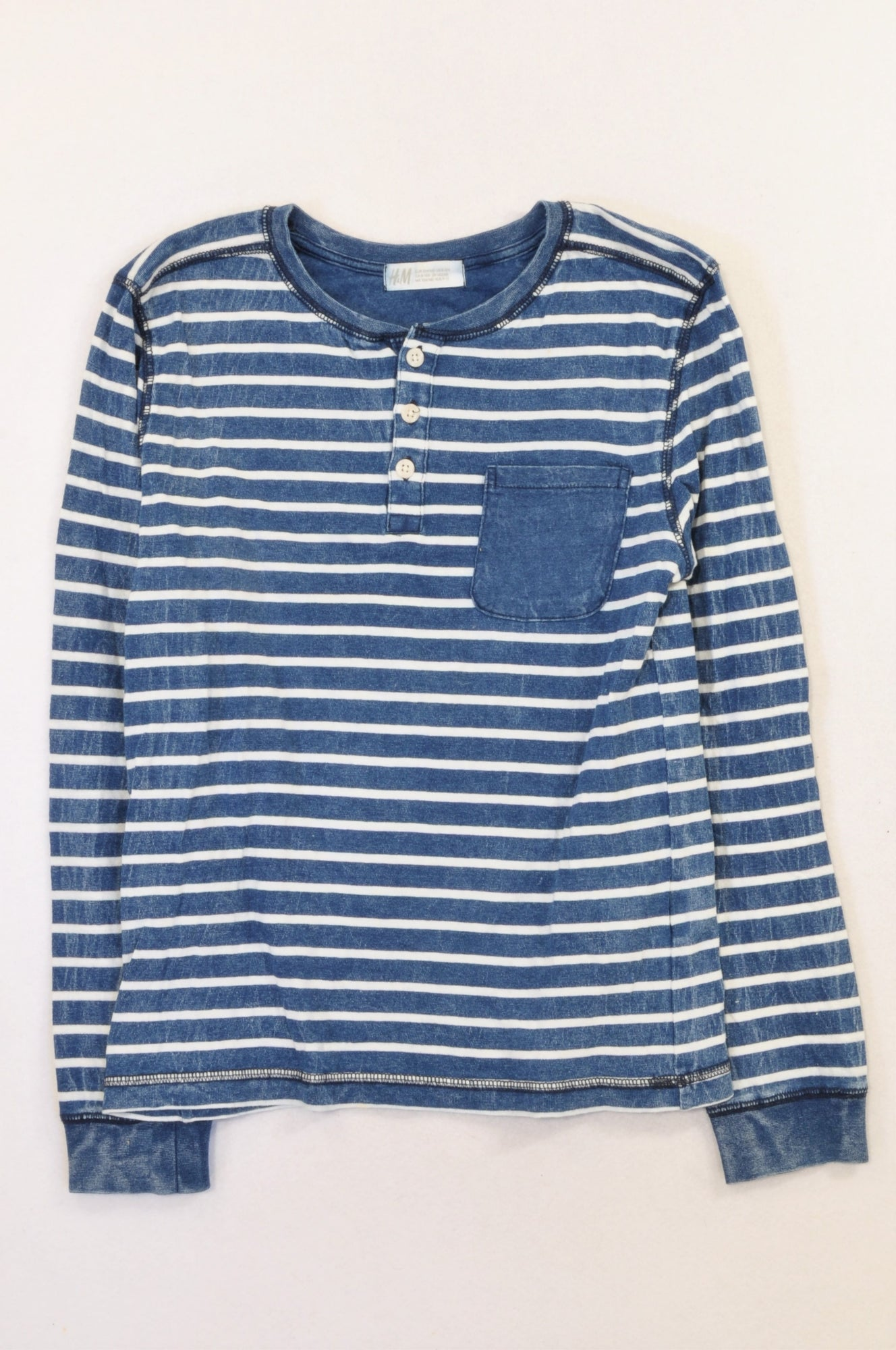 H&M Blue & White Stripe Pocket Henley T-shirt Boys 8-10 years