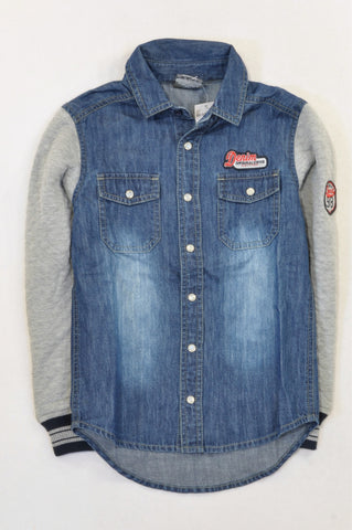 New JBR Denim Lightweight Quilted Grey Panel Top Boys 13-14 years