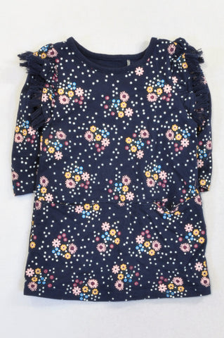 New Cotton On Navy Flower Frill Shoulder Dress Girls 12-18 months