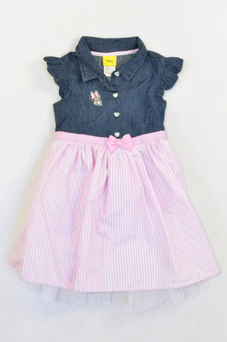 New Disney Pink Pinstripe Frill Trim Minnie Dress Girls 18-24 months