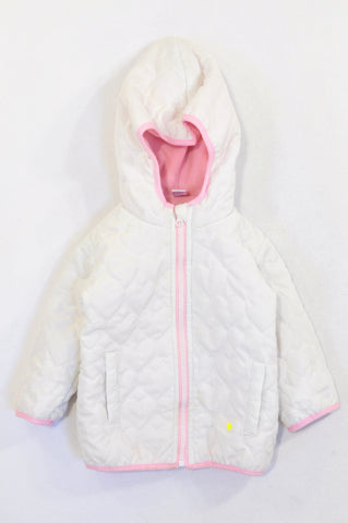 Ackermans White Heart Quilted Fleece Lined Jacket Girls 12-18 months