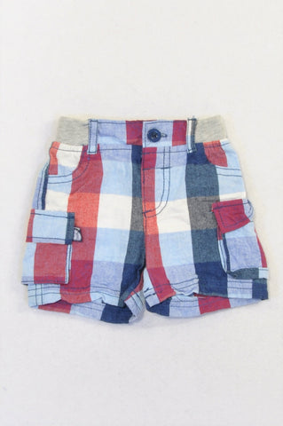 Ackermans Red & Blue Check Cargo Shorts Boys 3-6 months