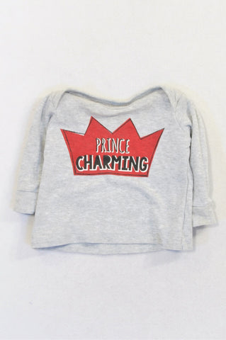 Woolworths Grey Prince Charming Crown T-shirt Boys 3-6 months