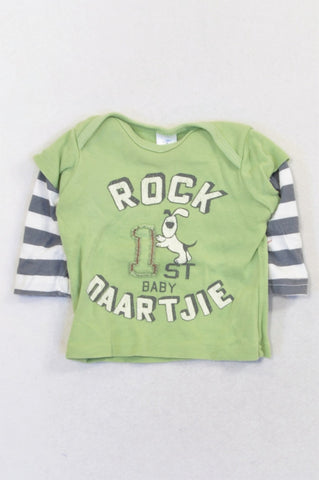 Naartjie Green Rock Baby Striped T-shirt Boys 3-6 months