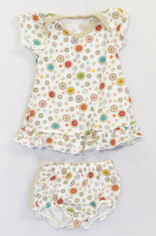 Woolworths Beige Flower Frill Trim Dress & Bloomers Outfit Girls N-B
