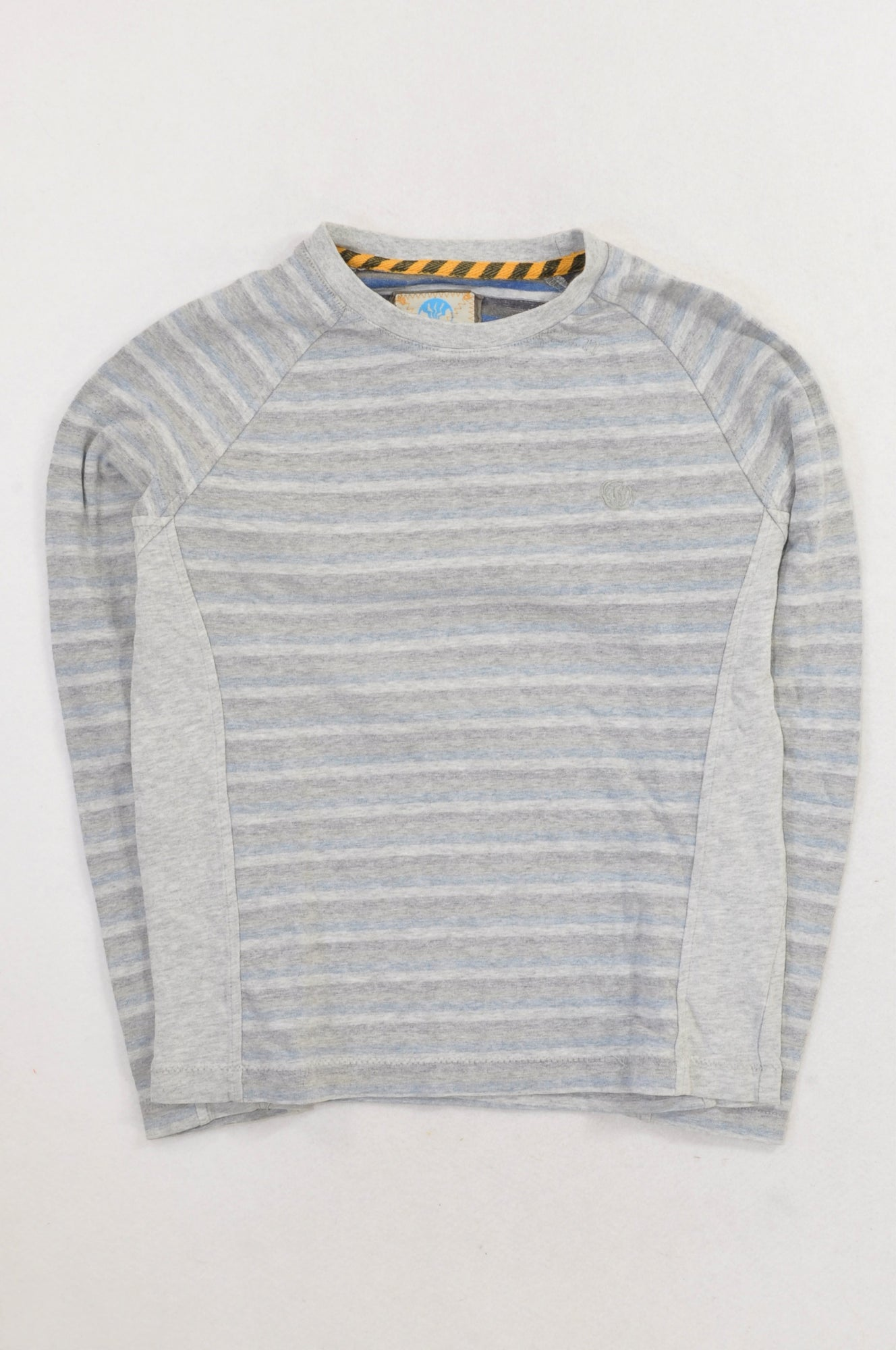 Grey & Blue Stripe Winter Top Boys 8-9 years