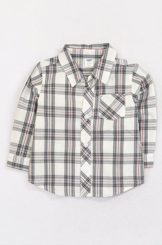 New Old Navy Ivory, Black & Red Plaid Formal Shirt Boys 12-18 months