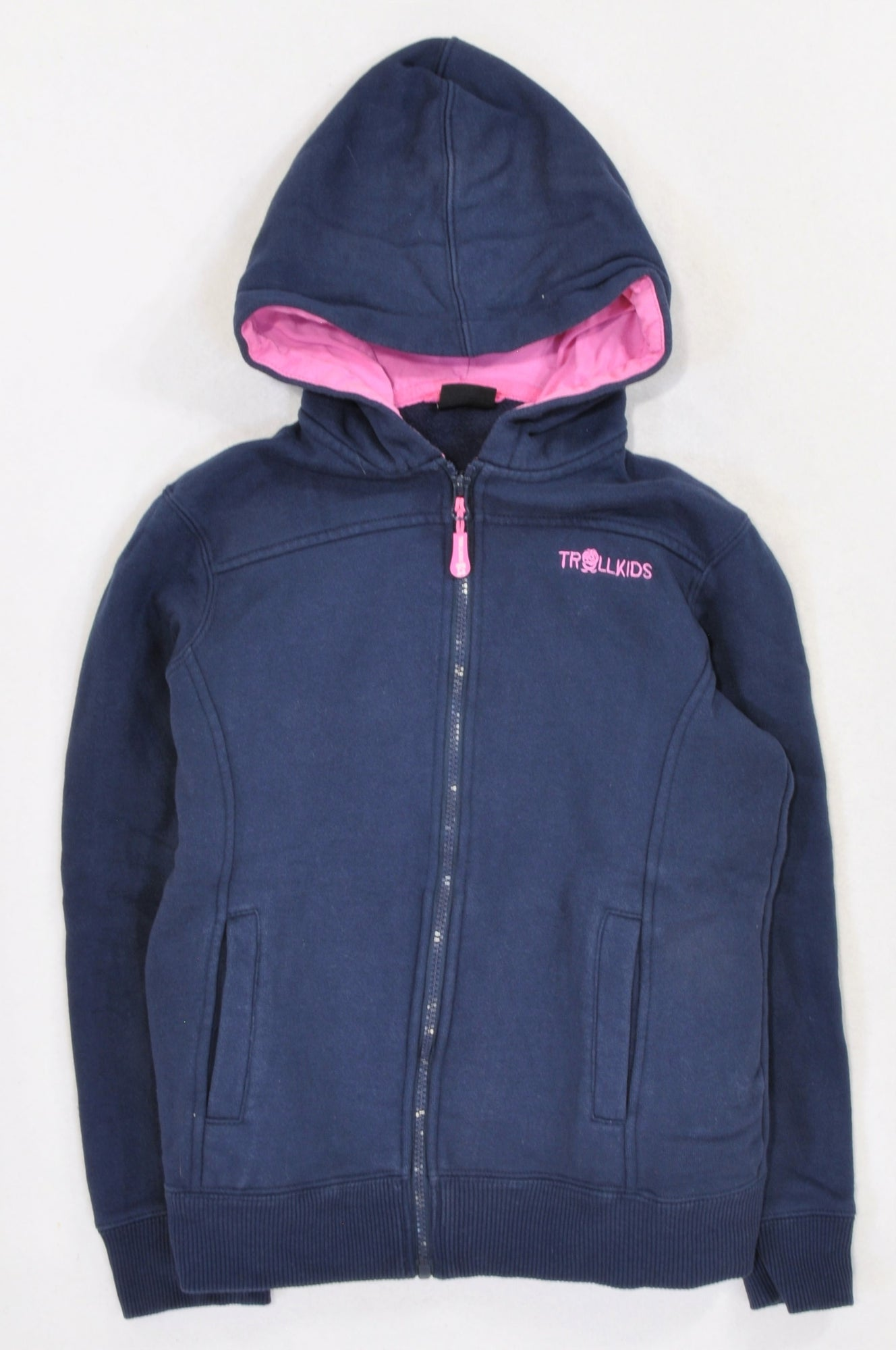 Unbranded Navy Logo Embroidered Pink Detail Hoodie Girls 8-10 years