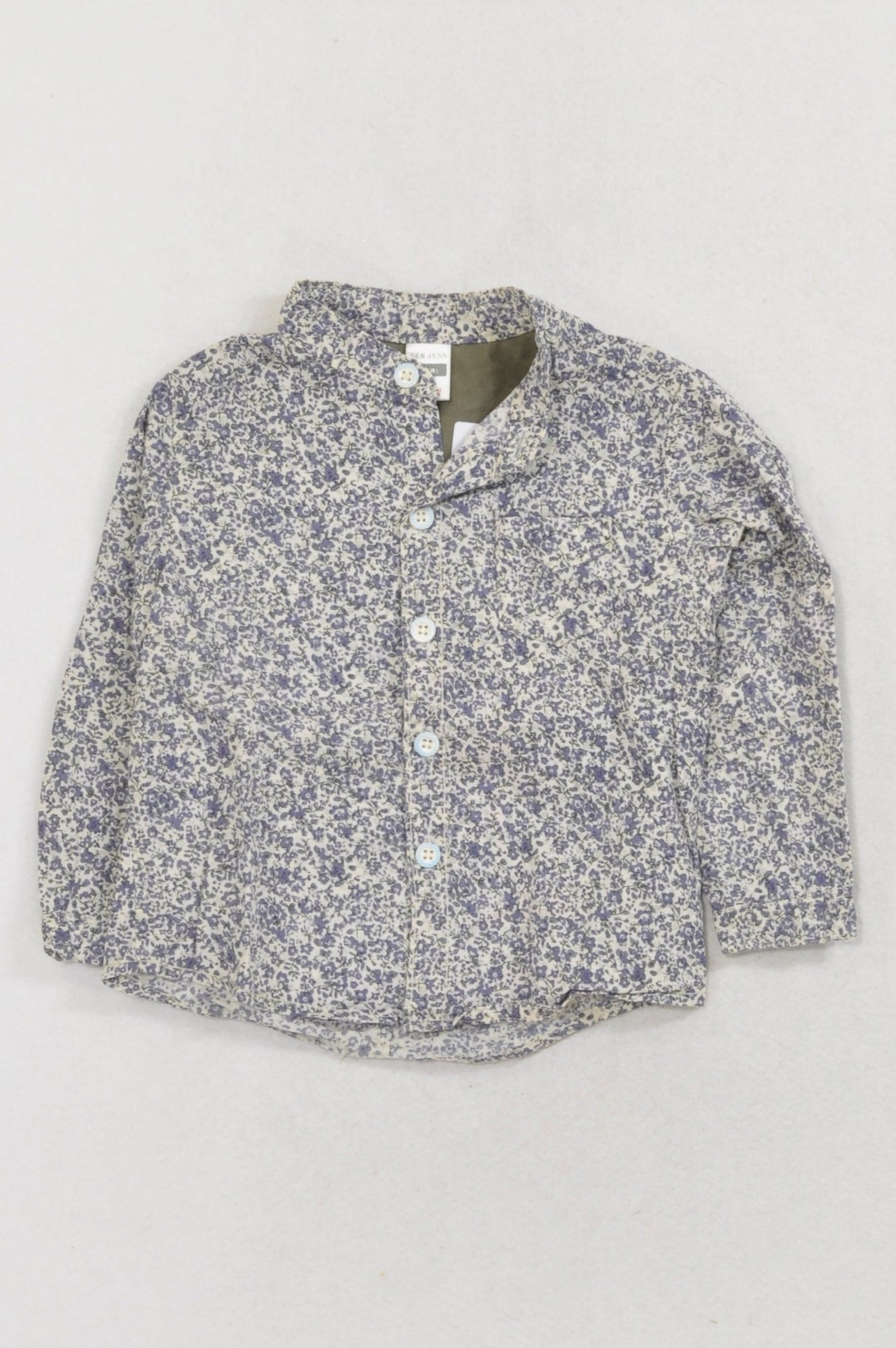 Sen Jess Purple Floral Button Shirt Boys 3-6 months