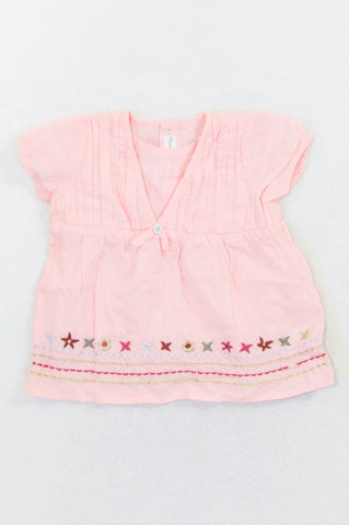 Mamas & Papas Pink Multi Color Stitch Flower Star Blouse Girls 0-3 months