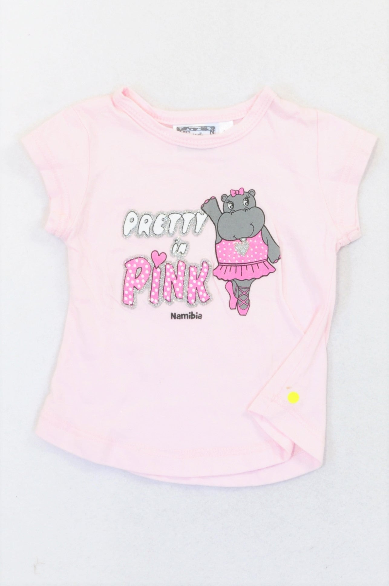 It's Africa Pretty in Pink Namibian Ballerina Hippo T-shirt Girls 12-18 months
