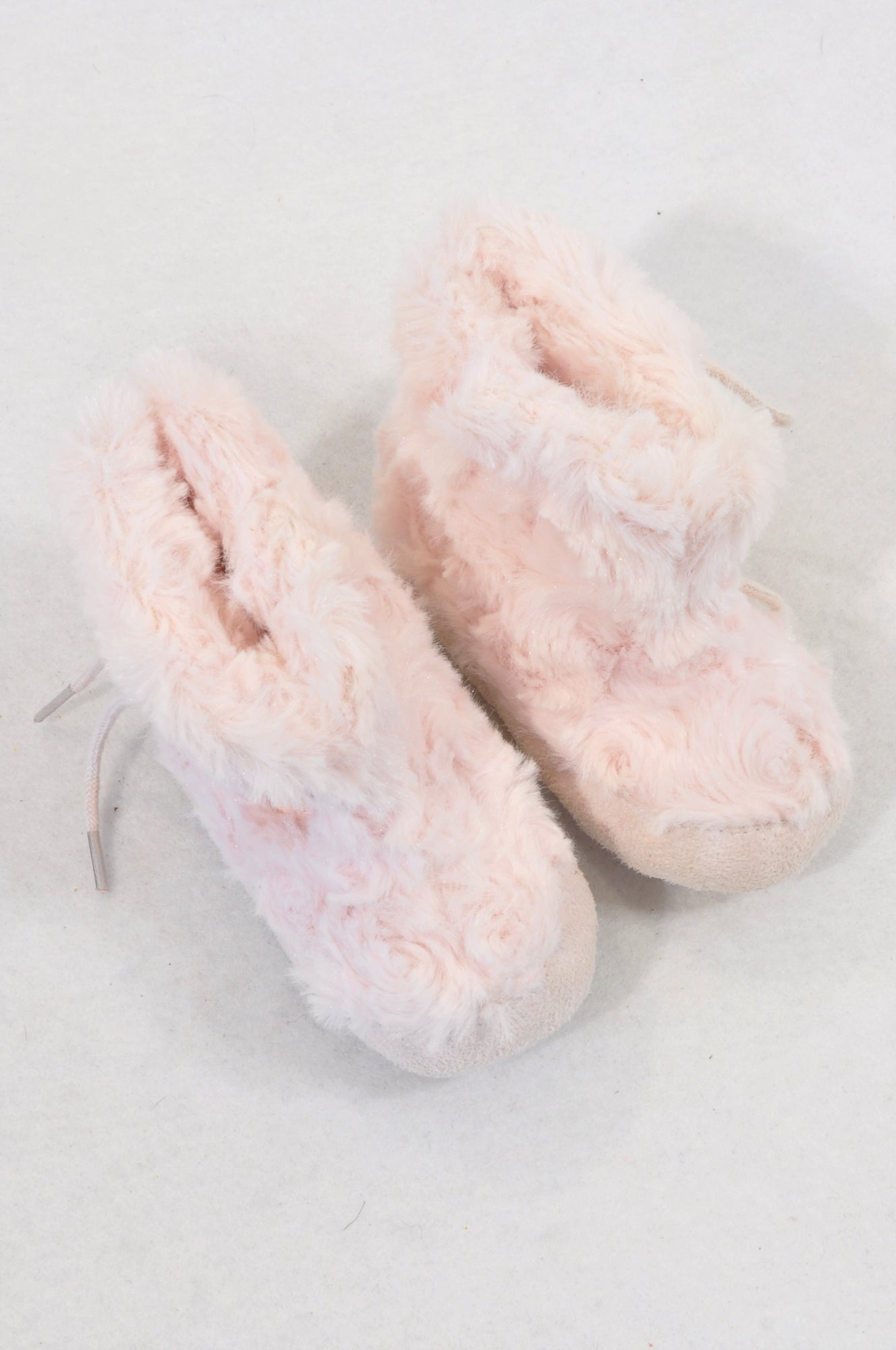 Edgars Size 1 Pink Faux Fur Flower Detail Booties Girls 3-6 months