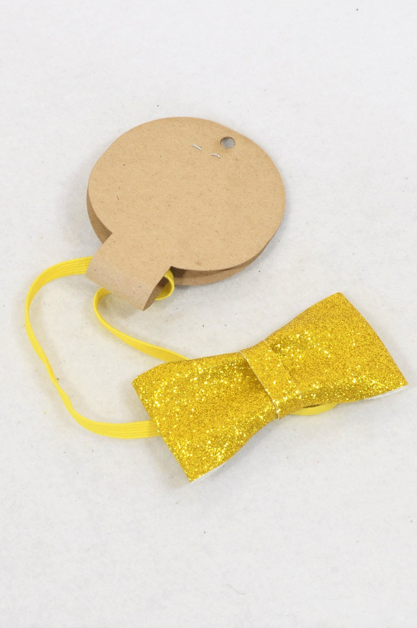 New Unbranded Golden Glitter Bow Elastic Headband Girls 6 months to 3 years