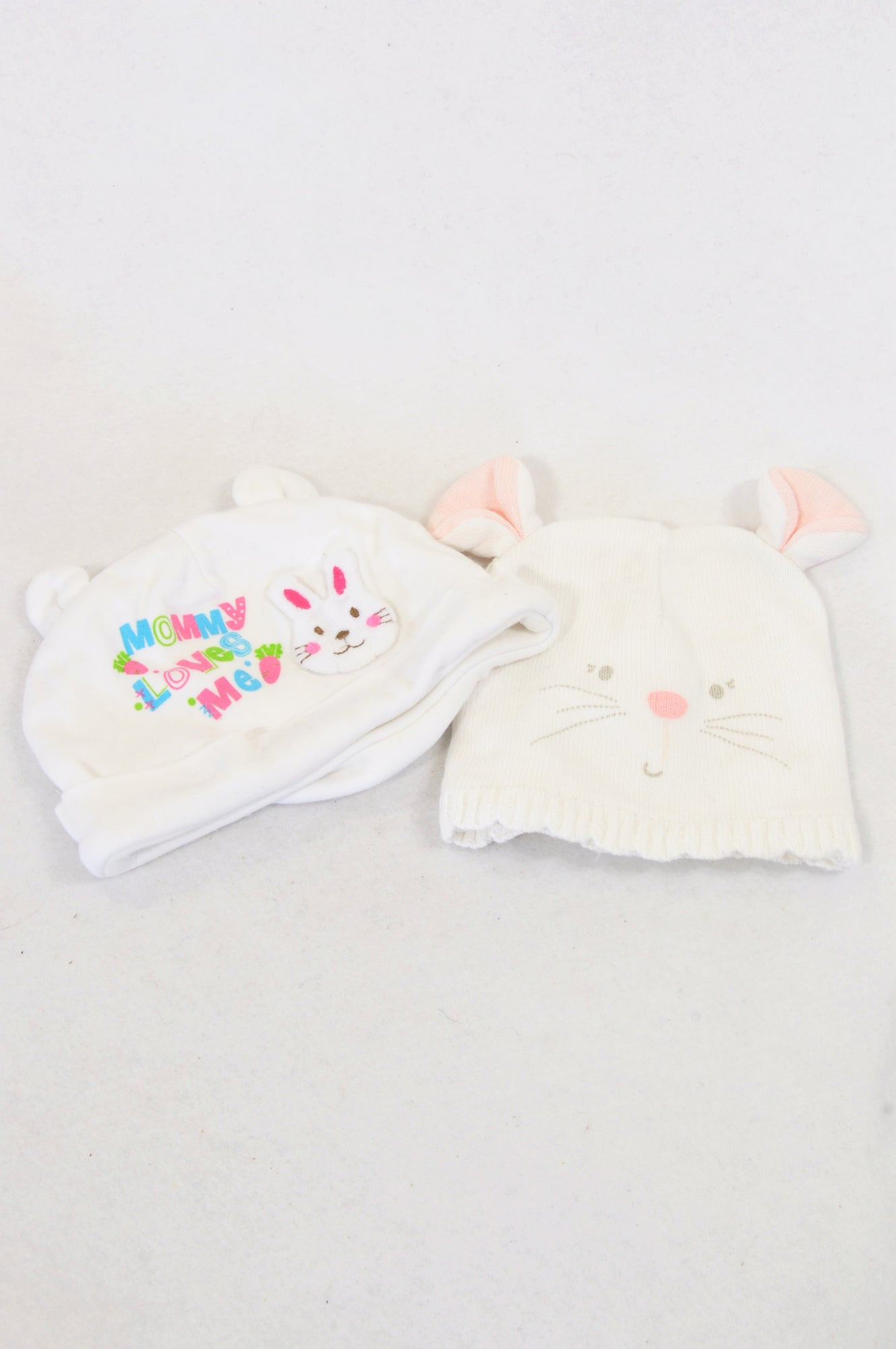 Pumpkin Patch 2 Pack Knit Bunny & Mummy Loves Me Beanies Girls 0-3 months