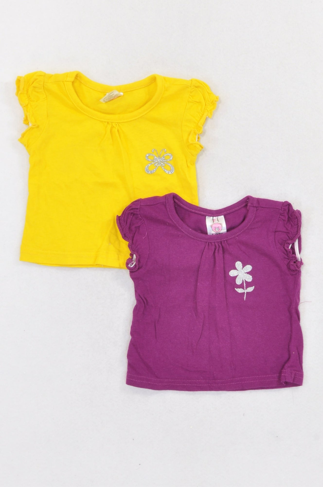 Jet 2 Pack Purple & Yellow Glitter T-Shirts Girls 3-6 months