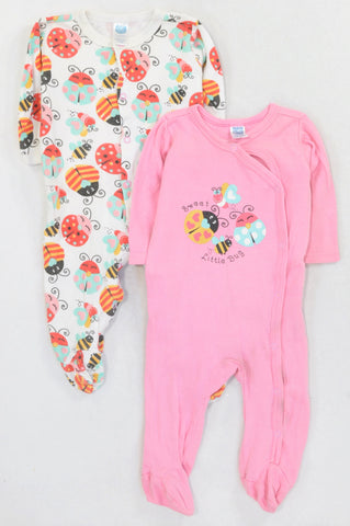 ee2e2df5c Ackermans 2 Pack Pink   White Bugs Onesies Girls 3-6 months