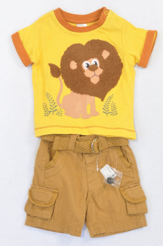 New Edgars Yellow & Brown Safari Lion Shorts Outfit Boys 3-6 months