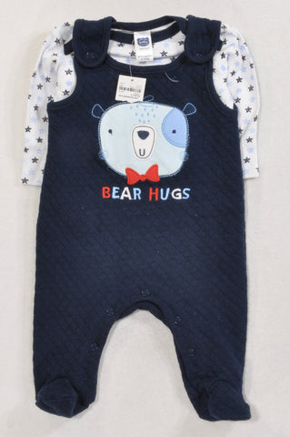 New Ackermans Navy Teddy Quilted Dungarees & Star Print T-shirt Outfit Boys 0-3 months