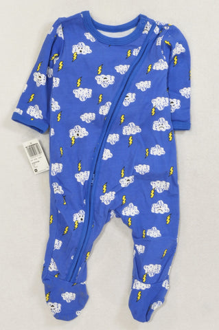 New Woolworths Blue Cloudy Lightning Zip Onesie Boys 0-3 months