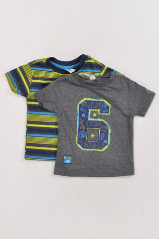 New Ackermans 2 Pack Lime Green Stripe & Number 6 T-Shirts Boys 6-12 months