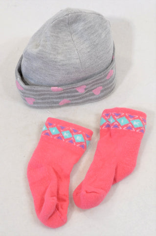 Tou Les Jours Grey Pink Heart Beanie & Pink Tribal Winter Socks Girls 3-6 months