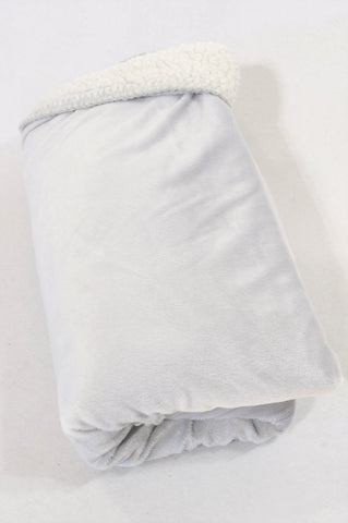 Yeah Baby Grey Faux Sheep Wool Lined Blanket Unisex N-B to 2 years