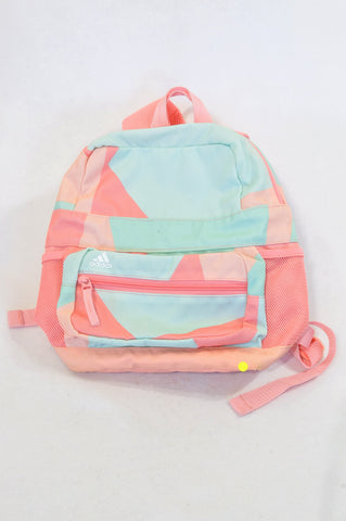 Adidas Pastel Pink & Green Geometric Backpack Girls All Ages