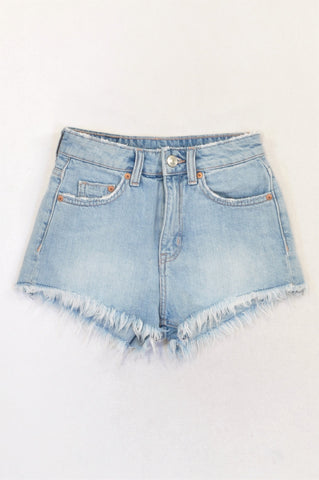2c1fd1677 H&M Light Wash Distressed Edge High Waisted Shorts Girls 15-16 years