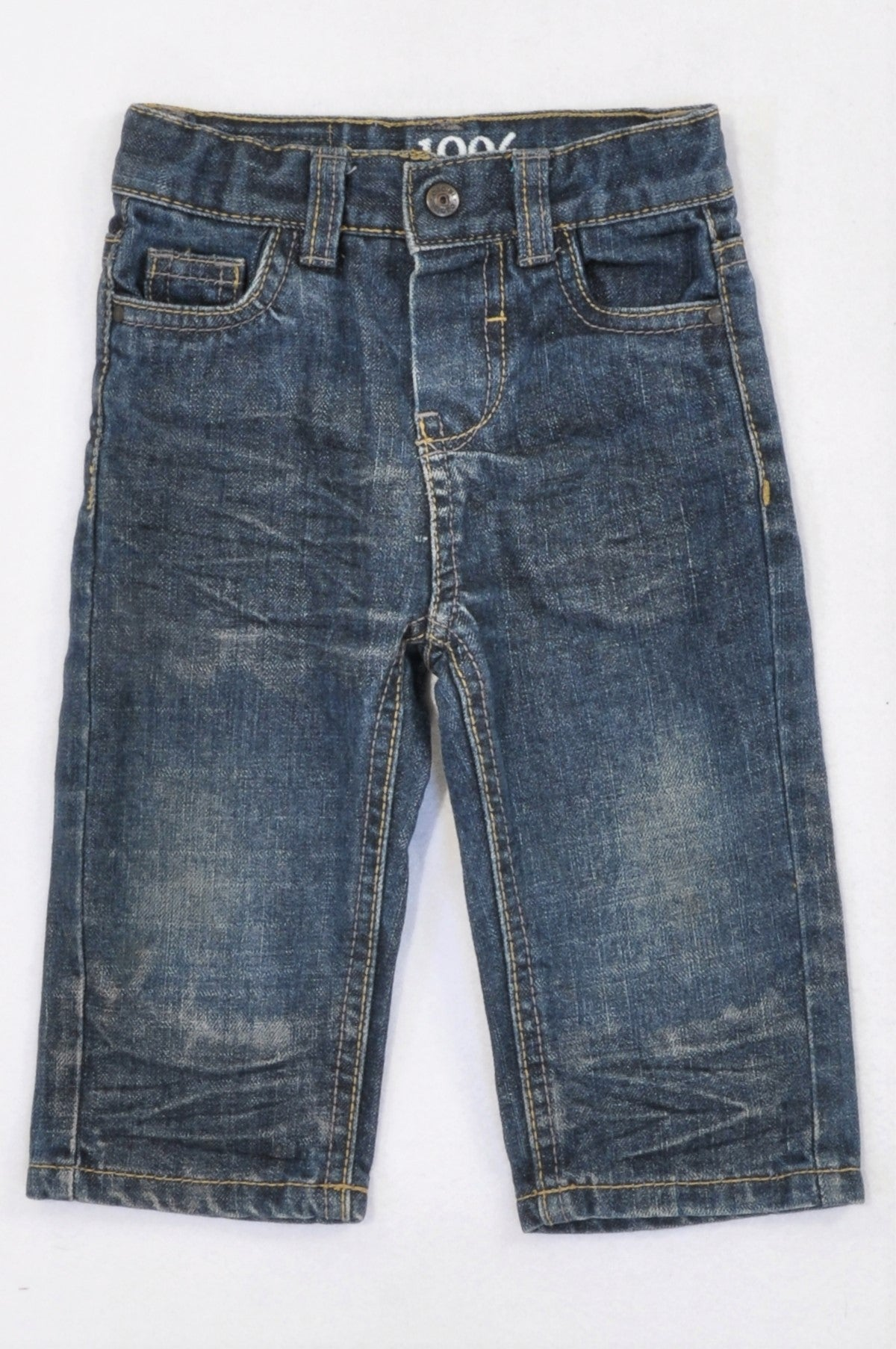 Obaibi Dark Stone Washed Straight Legged Jeans Boys 6-12 months