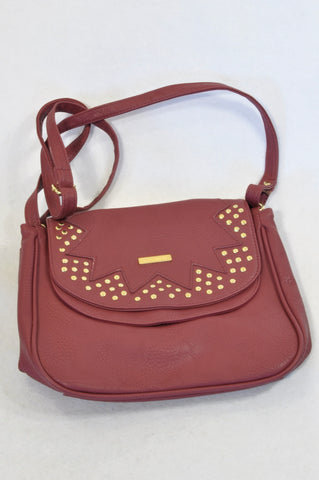 Billabong Wine Red Gold Rhinestone Detail Hand Bag Girls 7-14 years