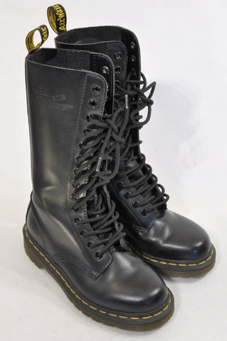 Dr Martens Size 3 14 Eye Leather Black Boots Unisex 7-16 years