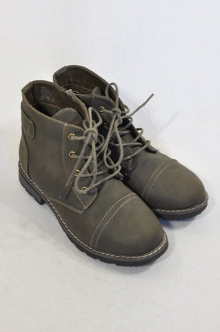 Woolworths Size Y4 Ash Brown Combat Ankle Boots Girls 8-16 years