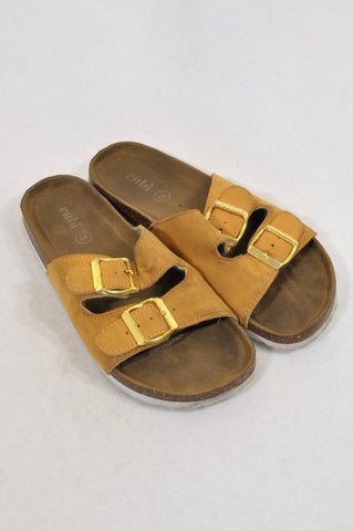 Cotton On Size Y4.5 Camel Double Buckle Slide Sandals Girls 8-16 years